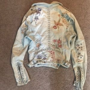 Blank NYC Embroidered Denim Moto Jacket